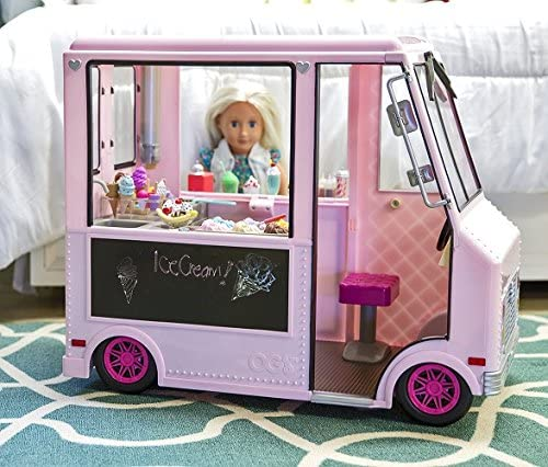 Our Generation Pink Doll Vehicle Set – Ice Cream Truck and accessories